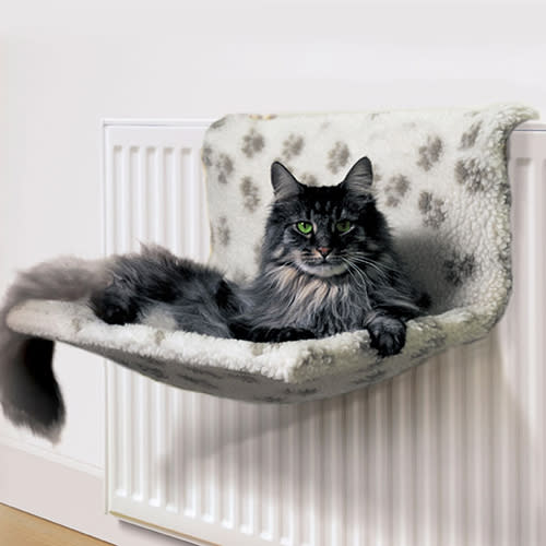 Cat sitting on a Radiator bed