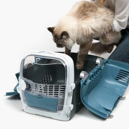 PET CHECK BLOG Catit-Cabrio-Gray-Blue-opened-from-the-top